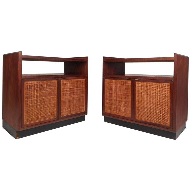 Pair of Mid-Century Modern Nightstands with a Cane Front
