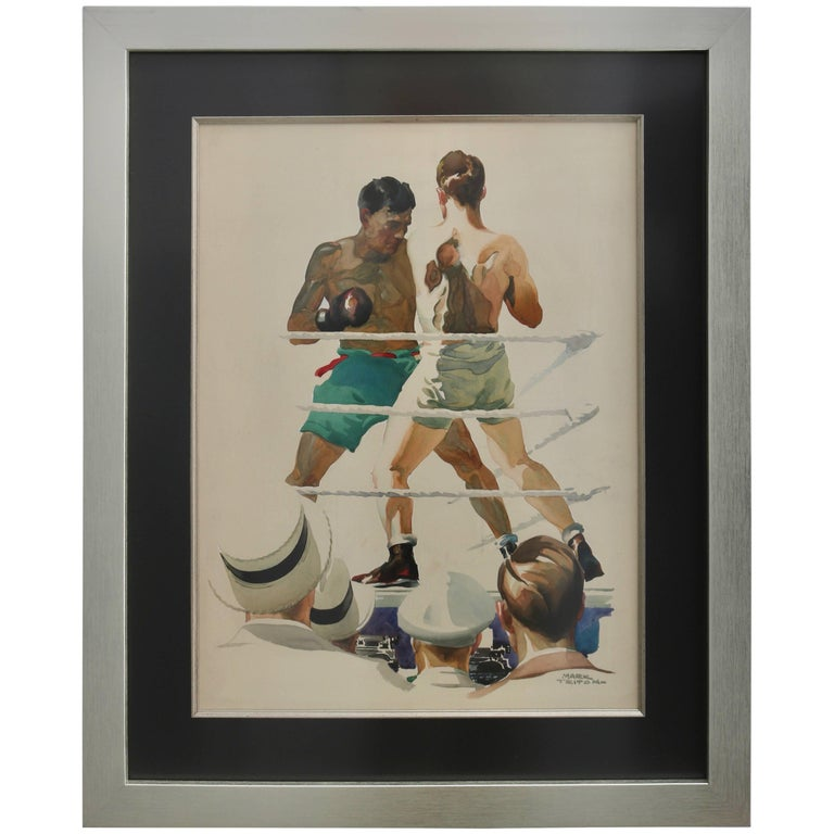 "American Art Deco Watercolor of a Boxing Match Titled ""Ringside"" by Mark Triton"