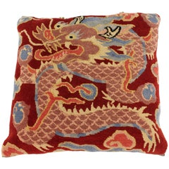 Asian Inspired Dragon Pillow in Wool