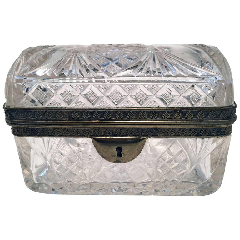 Cut Crystal and Gilt Bronze Dresser Box For Sale