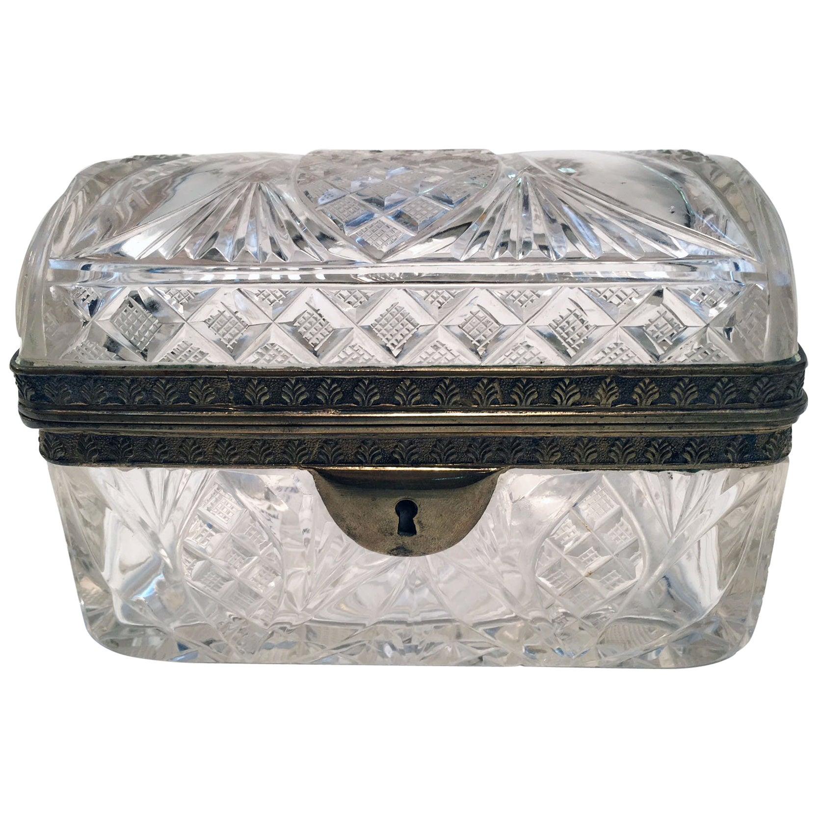 Cut Crystal and Gilt Bronze Dresser Box
