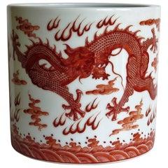 Chinese Porcelain Brush Pot Iron Red Dragons 20th Century, circa 1930