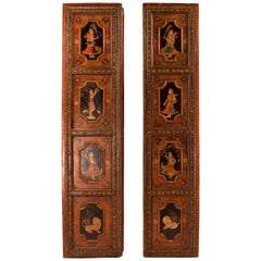 Pair of Painted Indian Palace Doors, circa 1830