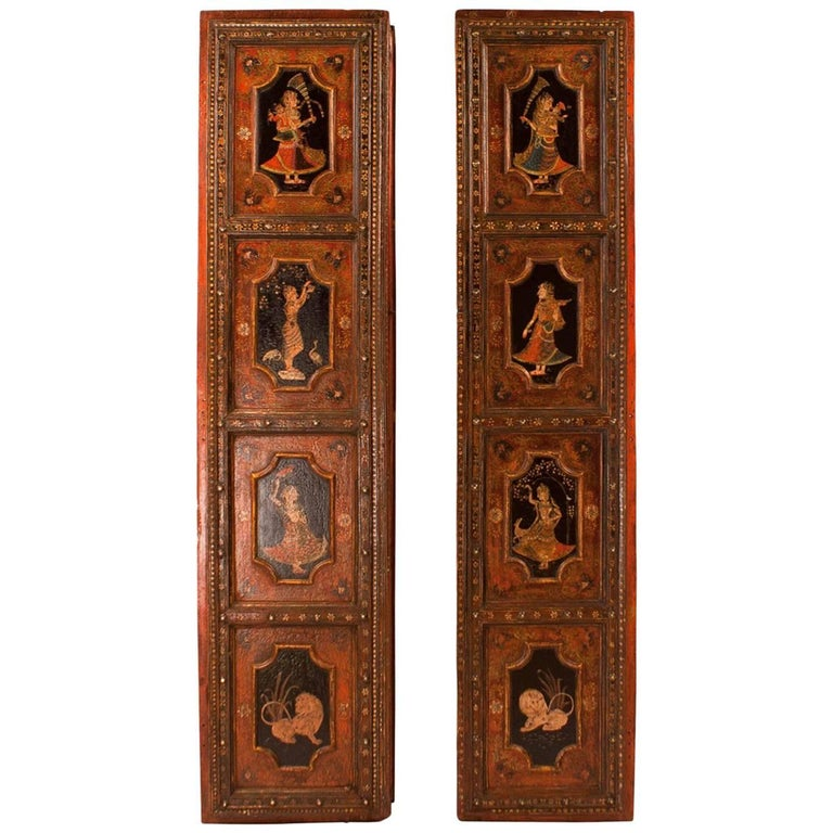 Pair of Painted Indian Palace Doors, circa 1830 For Sale