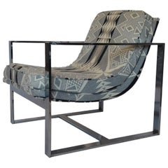 Milo Baughman Style Chrome Lounge Chair with Pendleton Upholstery