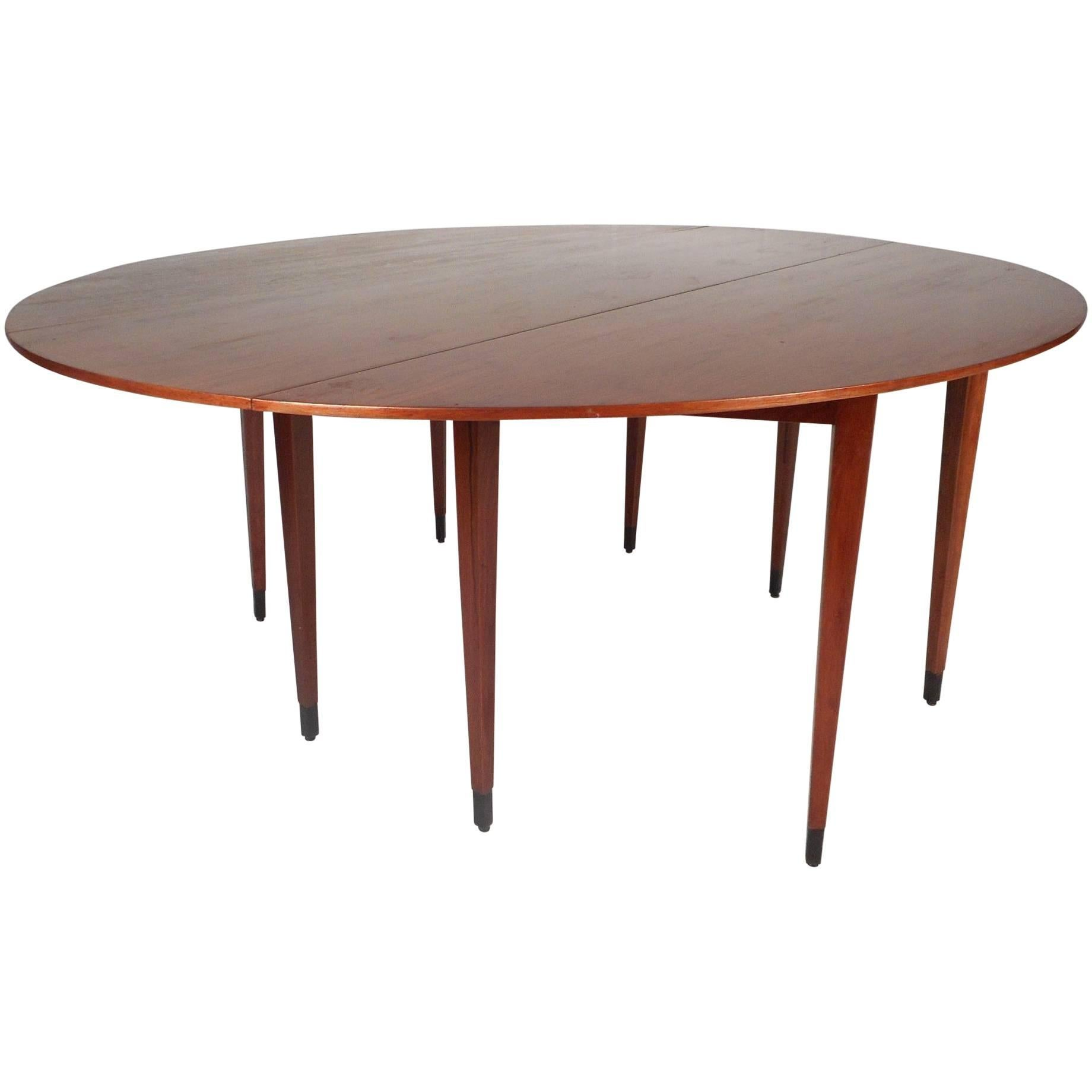 Danish Rosewood Butterfly Leaf Round To Oval Dining Table, 1960S