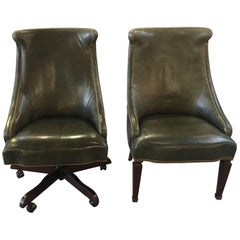Pair of Leather Library Chairs