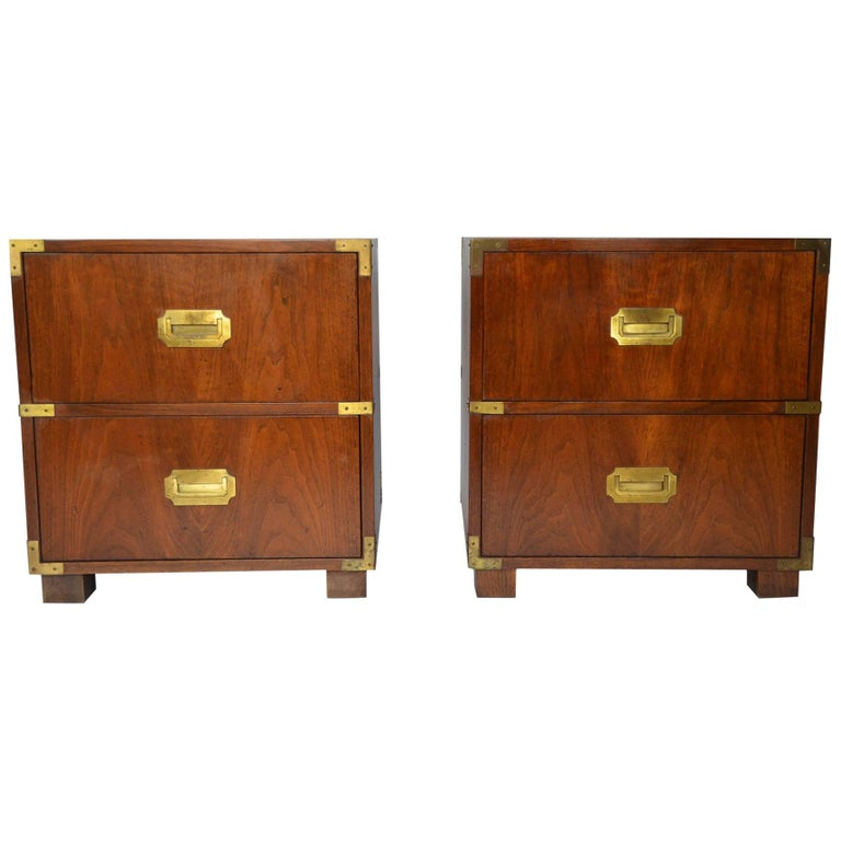 Pair of Baker Campaign Style Nightstands For Sale
