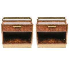 Pair of 1970s Dark Burled Wood and Brass Nightstands