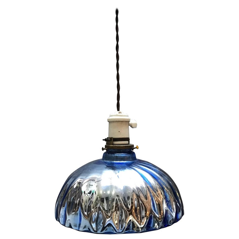 Industrial Quilted Blue Mercury Glass Pendant Light