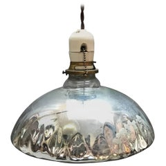 Industrial Quilted Silver Mercury Glass Pendant Light
