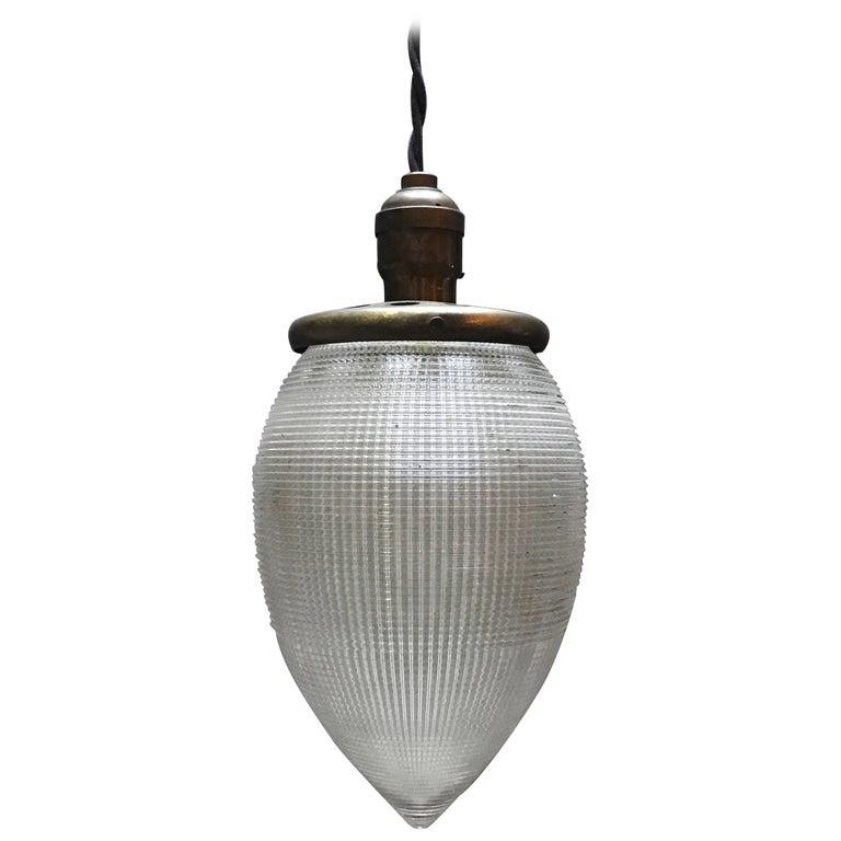 Industrial Large Teardrop Holophane Glass Pendant Light