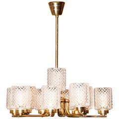 1960s, Brass and Glass Chandelier by Hans-Agne Jakobsson