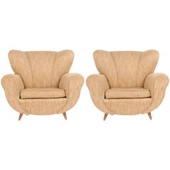 Pair of Italian Midcentury Oversized Lounge Chairs