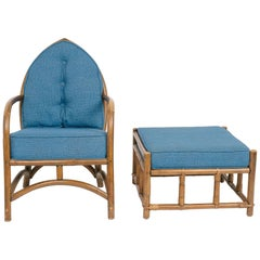 1960s Cathedral Shaped Bamboo Chair and Ottoman