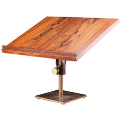 Danish Midcentury Rosewood and Brass Lecter, Music Stand or Easel