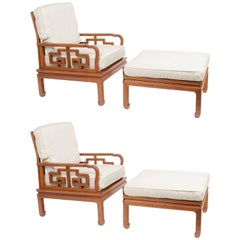 Pair of 1960s Asian Chairs and Ottomans