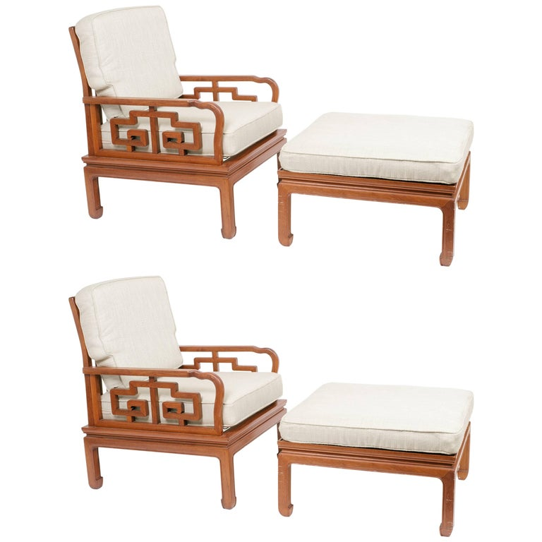 Pair of 1960s asian chairs and ottomans for sale at 1stdibs for Asian chairs for sale