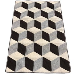 Graphic Tumbling Blocks Woven Jute Wall Hanging or Flat Weave Rug