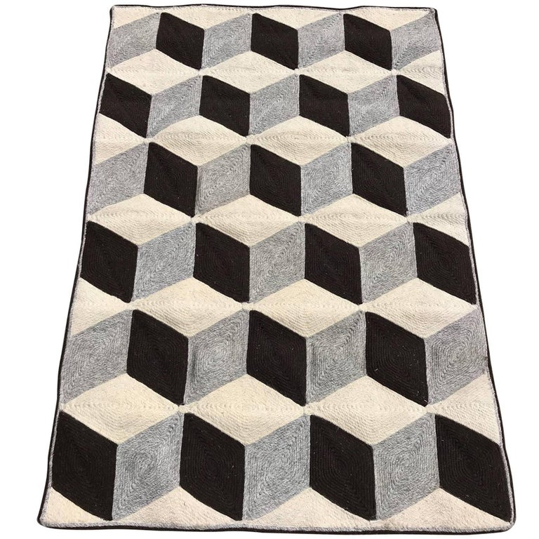 Graphic Tumbling Blocks Woven Jute Wall Hanging or Flat Weave Rug For Sale