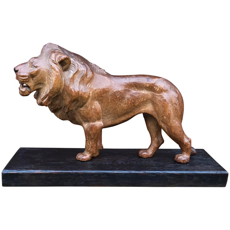 Early 20th Century Hand-Carved Lion Sculpture Statue, King of the Jungle
