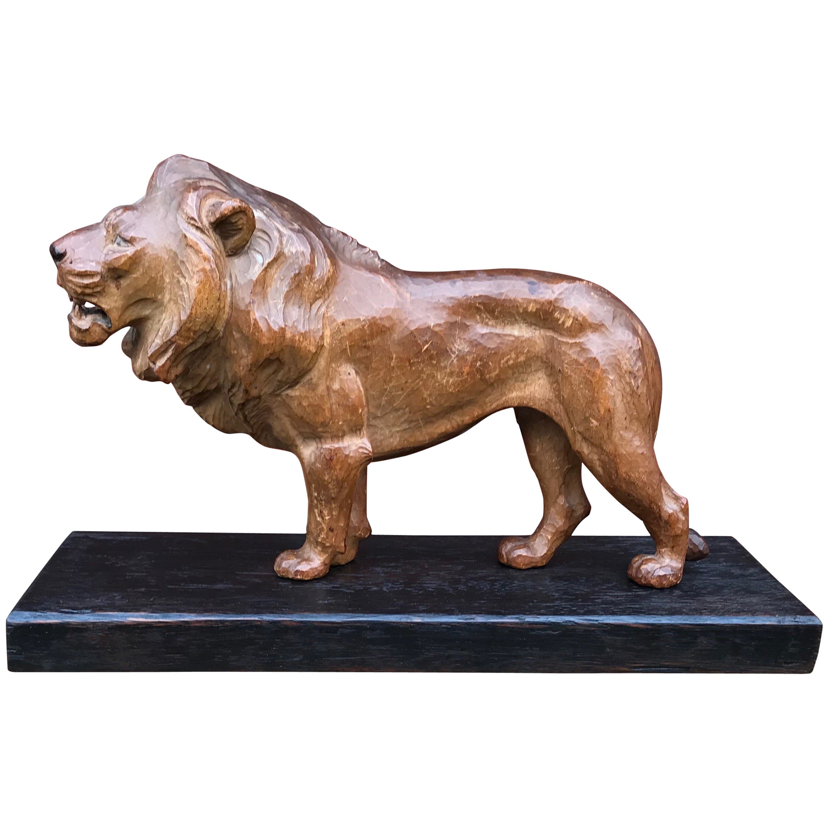 Early 20th Century Hand-Carved Lion Sculpture Statue on Base, King of the Jungle