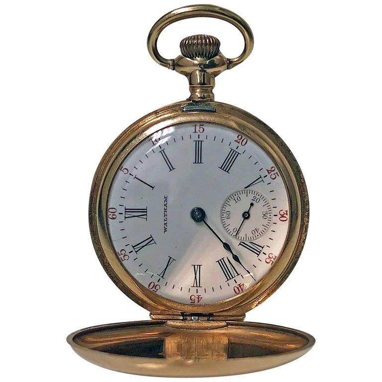 American Waltham 14-Karat Stem Wind Gold Hunter Case Pocket Watch, circa 1900 1