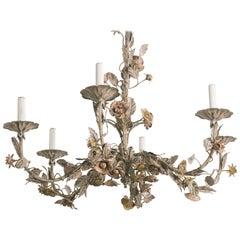 1960s Italian Tole Floral Chandelier