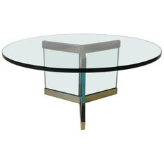 Brass and Glass Coffee Table Designed by Leon Pace
