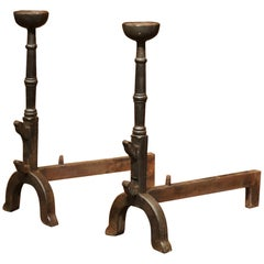 Pair of 18th Century, French Wrought Iron Black Fireplace Andirons with Bowls