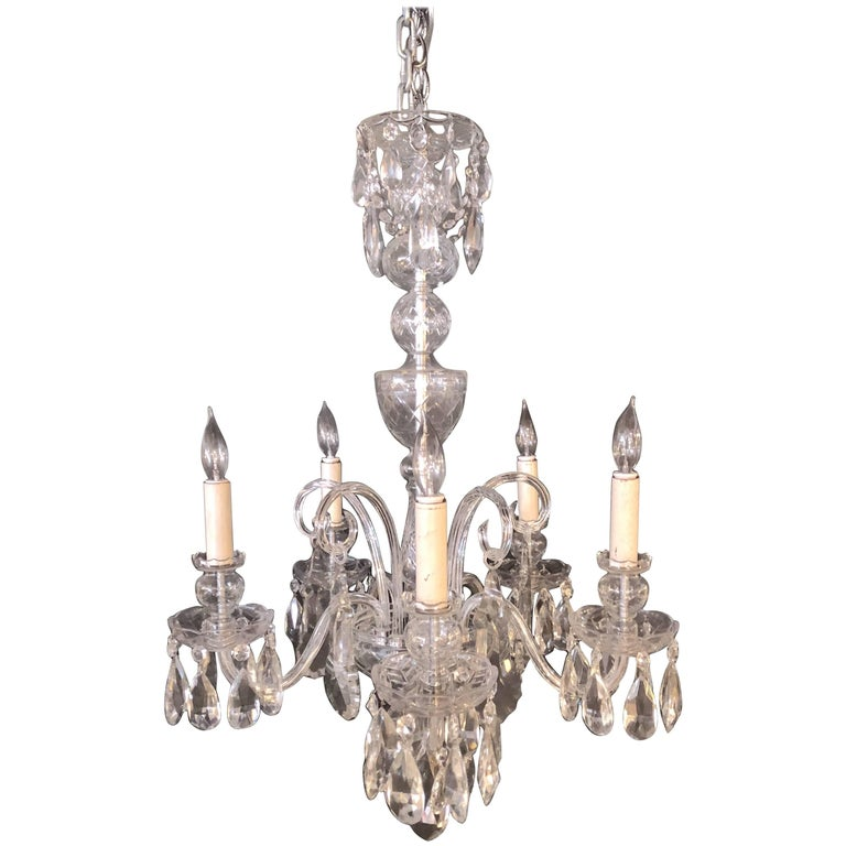 Fine Cut Crystal Georgian Chandelier with Large Pendants For Sale