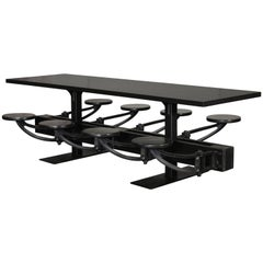 Dining Table - Industrial All Black Cafe Swing out Seat Communal Cafeteria