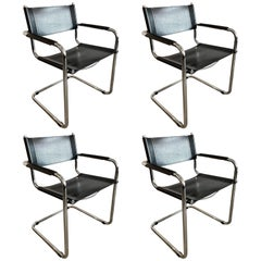 Set of Four Chrome and Black Leather Dining Chairs by Mart Stam, 1980s