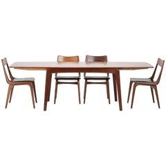 Erik Christensen Boomerang Dining Table Set Slagelse, 1950s