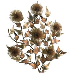 Midcentury Jere Style  Brass and Copper Floral Wall Sculpture