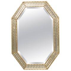 1970s Italian Octagonal Wood Gilt Mirror