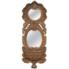 1960s, Spanish Carved Wood Double Mirror