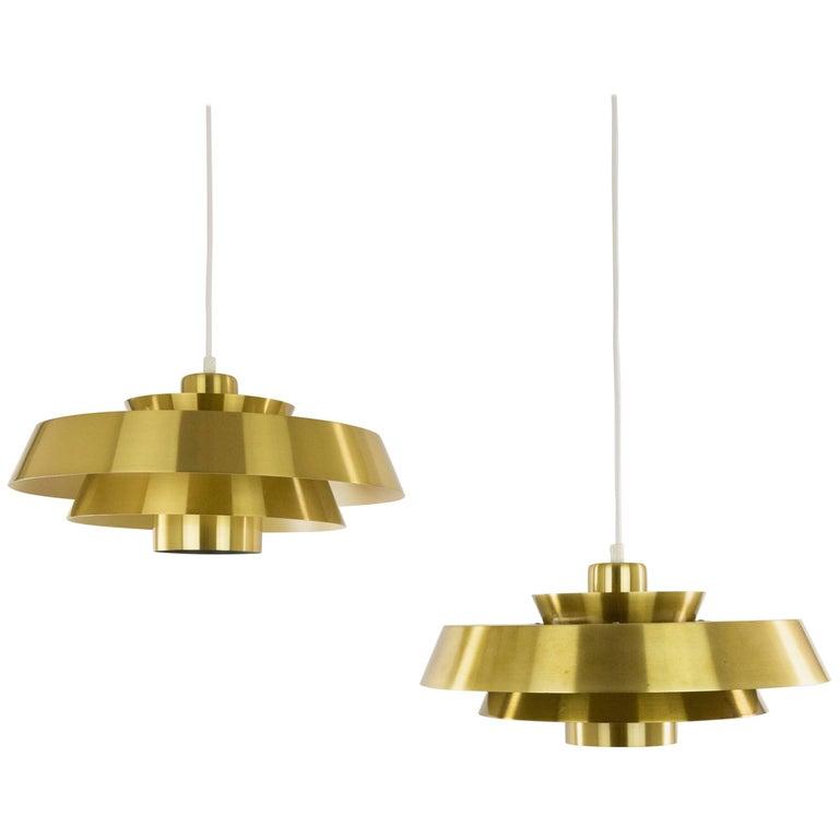 Pair of Brass Nova Pendants by Jo Hammerborg for Fog & Mørup, 1960s