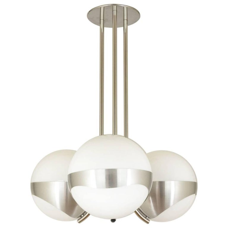 Chandelier by Lamperti Associates in Metal and Glass, Italy, 1970s