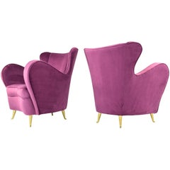 Italian Mid-Century Velvet Armchairs by ISA Bergamo, Set of Two,  1950s