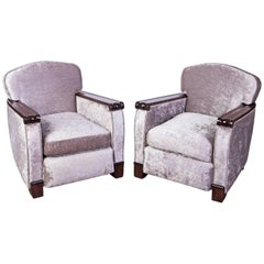 Exceptional Pair of Club / Armchairs by Gaston Poisson