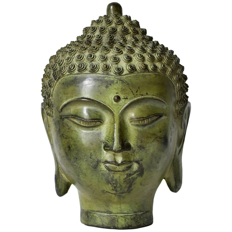 Large Bronze Buddha Head, Tang Dynasty Style For Sale