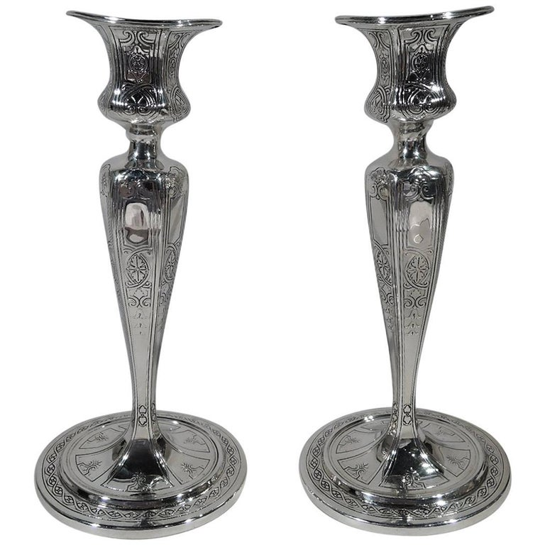 Pair of Antique Tiffany Edwardian Sterling Silver Candlesticks