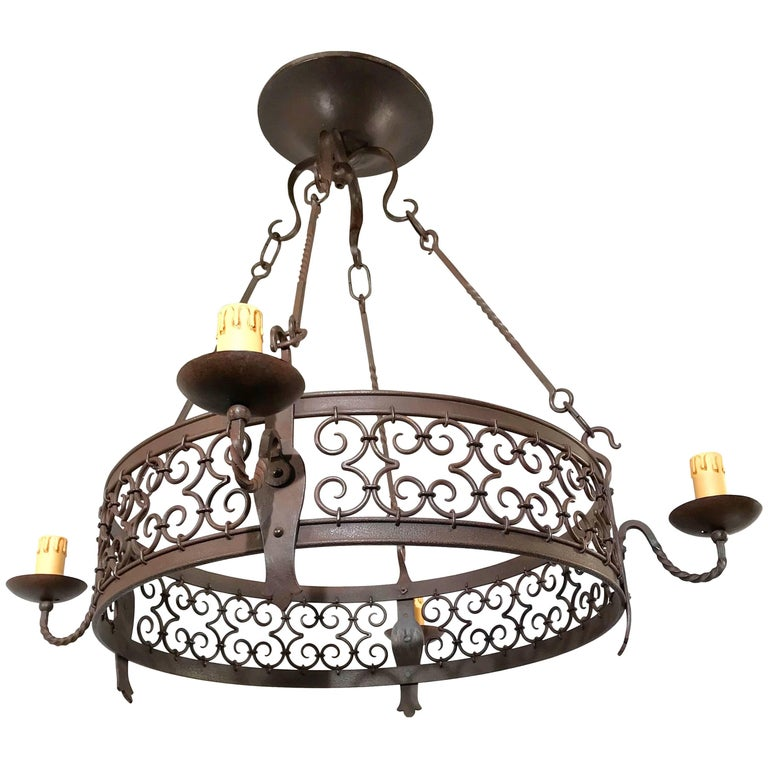 Large Arts & Crafts Forged in Fire Wrought Iron Chandelier Pendant Light Fixture For Sale