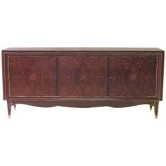 Handsome French Tiger Mahogany and Amboyna Wood Sideboard, Manner of Jules Leleu