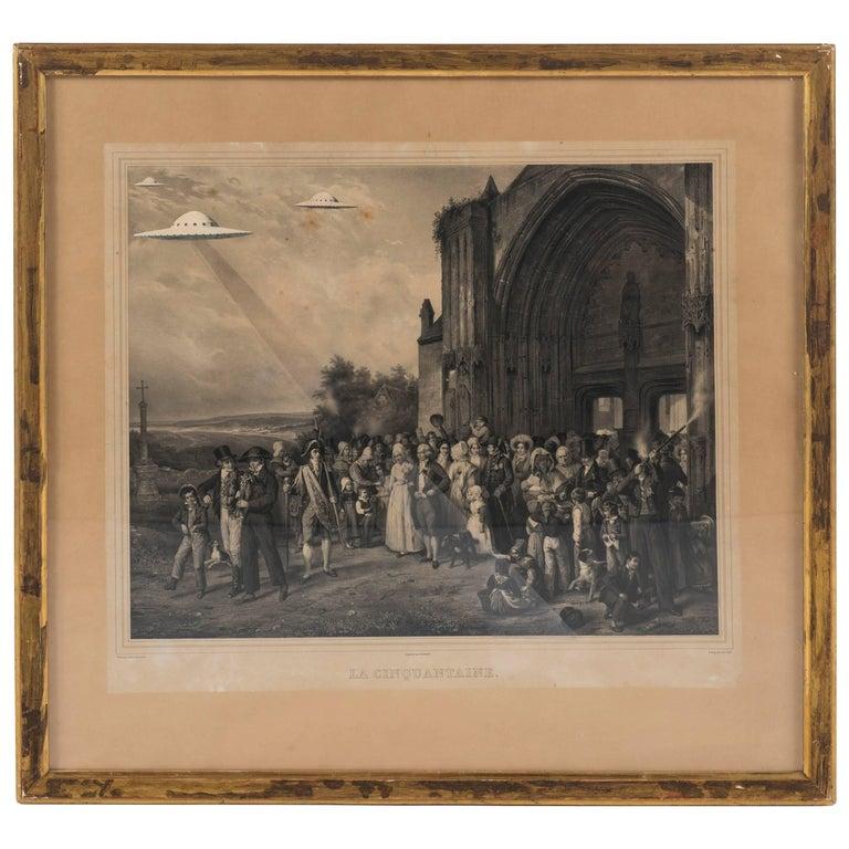 19th Century, French Engraving, La Cinquantaine UFO Invasion For Sale