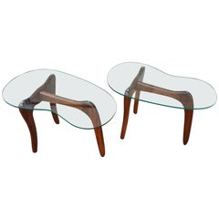 Pair of Adrian Pearsall Solid Walnut Side Tables, Kidney Shape Glass Tops