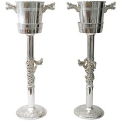 Pair of Tony Duquette Style Silver Plated Art Deco Champagne Buckets with Stands