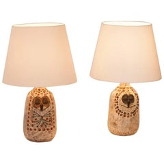 Pair of Mr. and Mrs. Owl Lamps by Raphael Giarusso Signed and Stamped, 1967