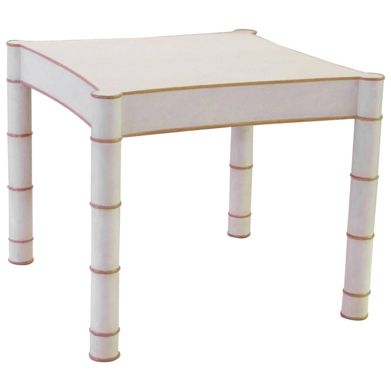 American 1970s Parchment-Veneered Faux Bamboo Game Table For Sale